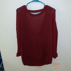 Maroon Open Back Sweater
